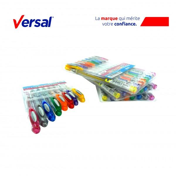 Pochette 8 Stylos Roller Gel Versal Pailletés Réf.Vr-104008