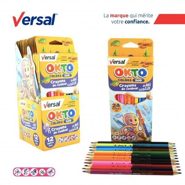 Crayon De Couleur Triangulaire Duo 12 GM VERSAL Réf-114001